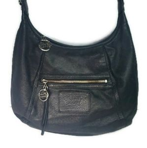 Coach Poppy Black Shimmer Leather Hobo Purse Bag